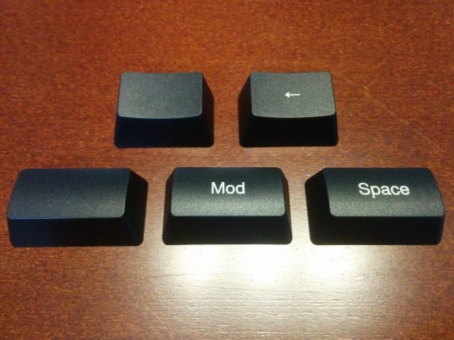 Injection molded Mod and Backspace keycaps, take 1