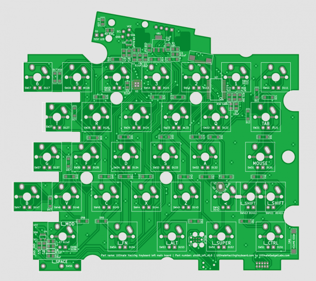 UHK PCB v6.1, right half